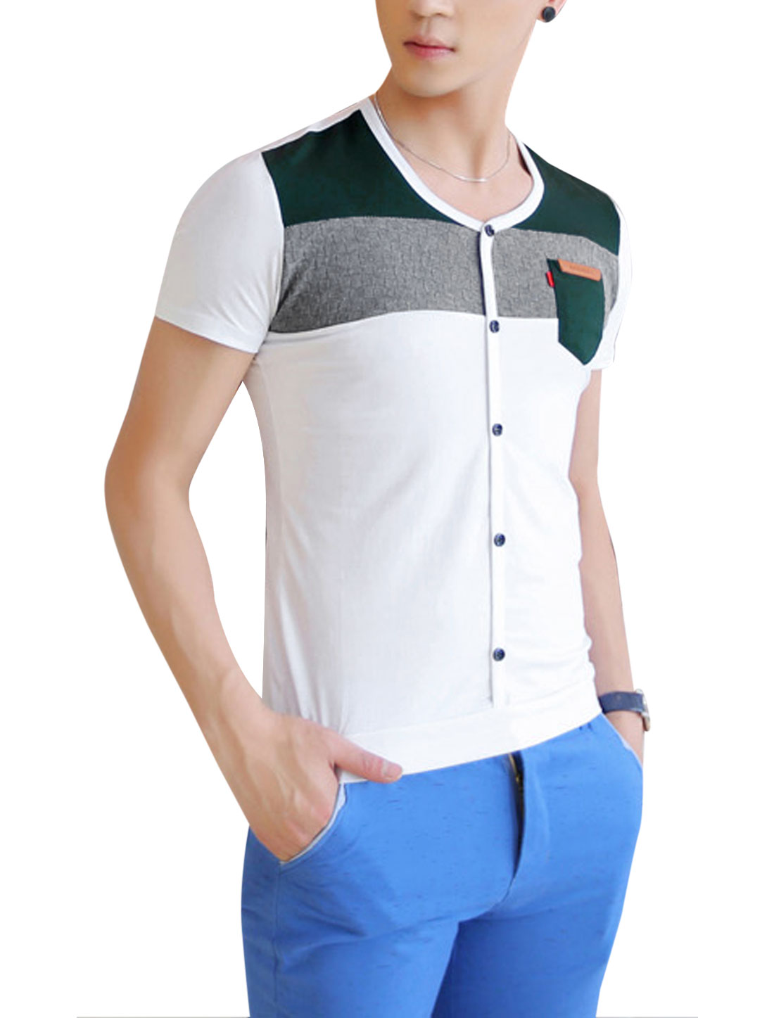 Men V Neck Short Sleeve Knitting Patchwork Button Decor Front Tee White M