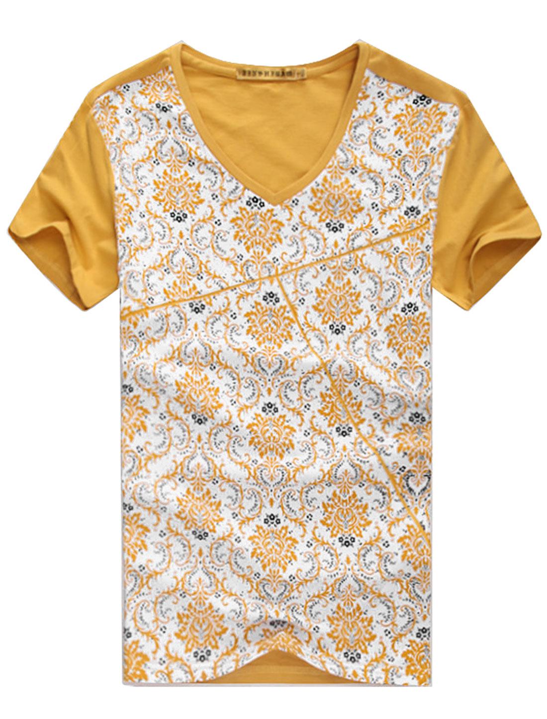 Men V Neck Short Sleeve Flower Pattern Colorblock T-Shirt Yellow M