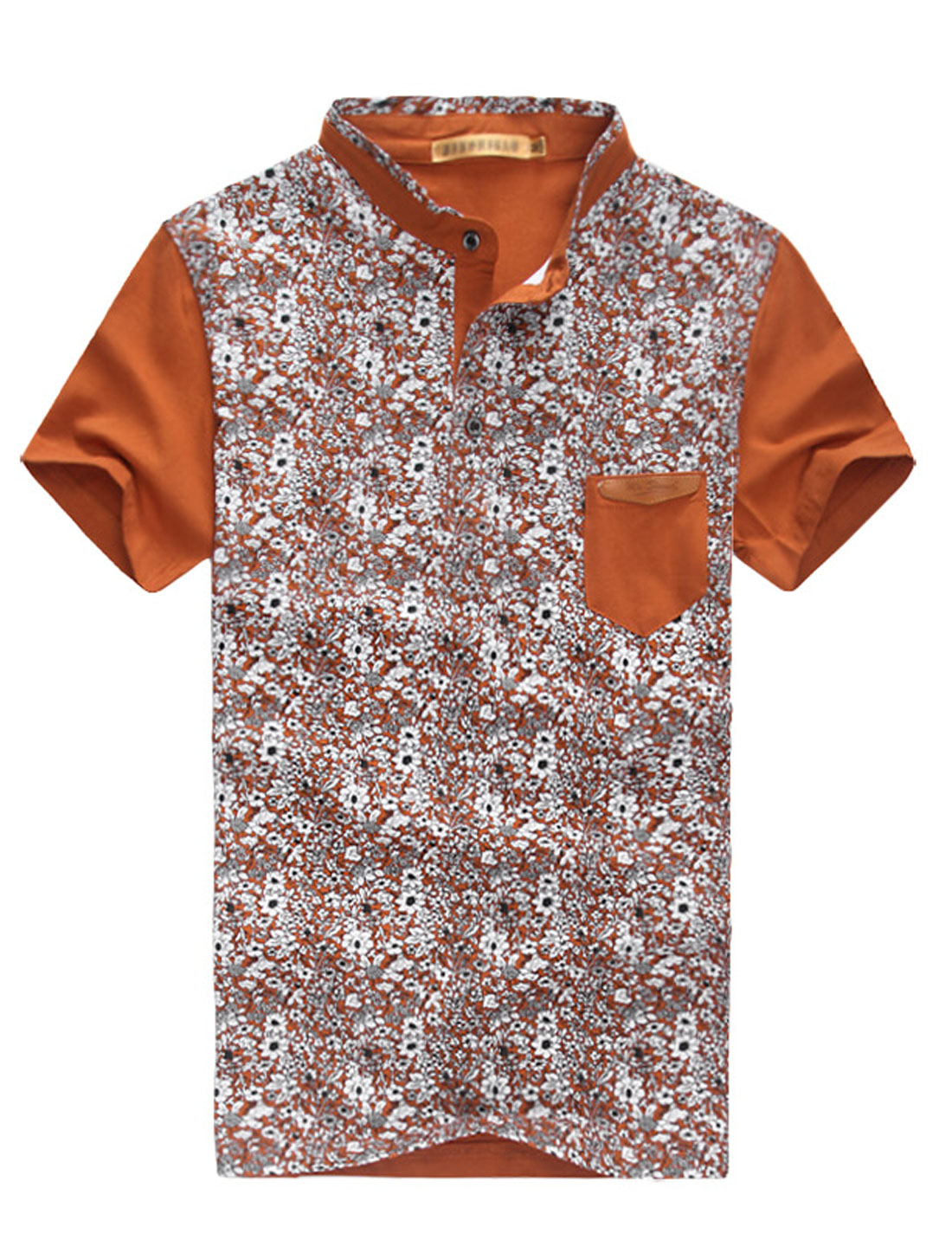 Men Summer Short Sleeve Floral Prints Casual Polo Shirt Rust M