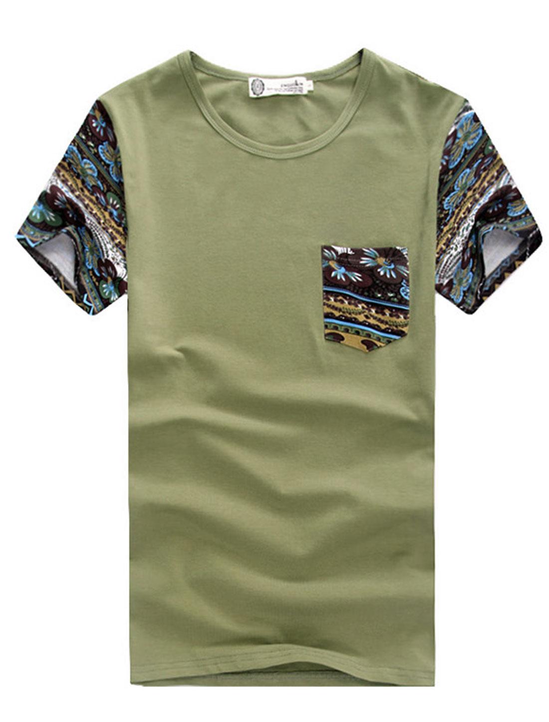Men Summer Short Sleeve Floral Prints Panel T-Shirt Moss M