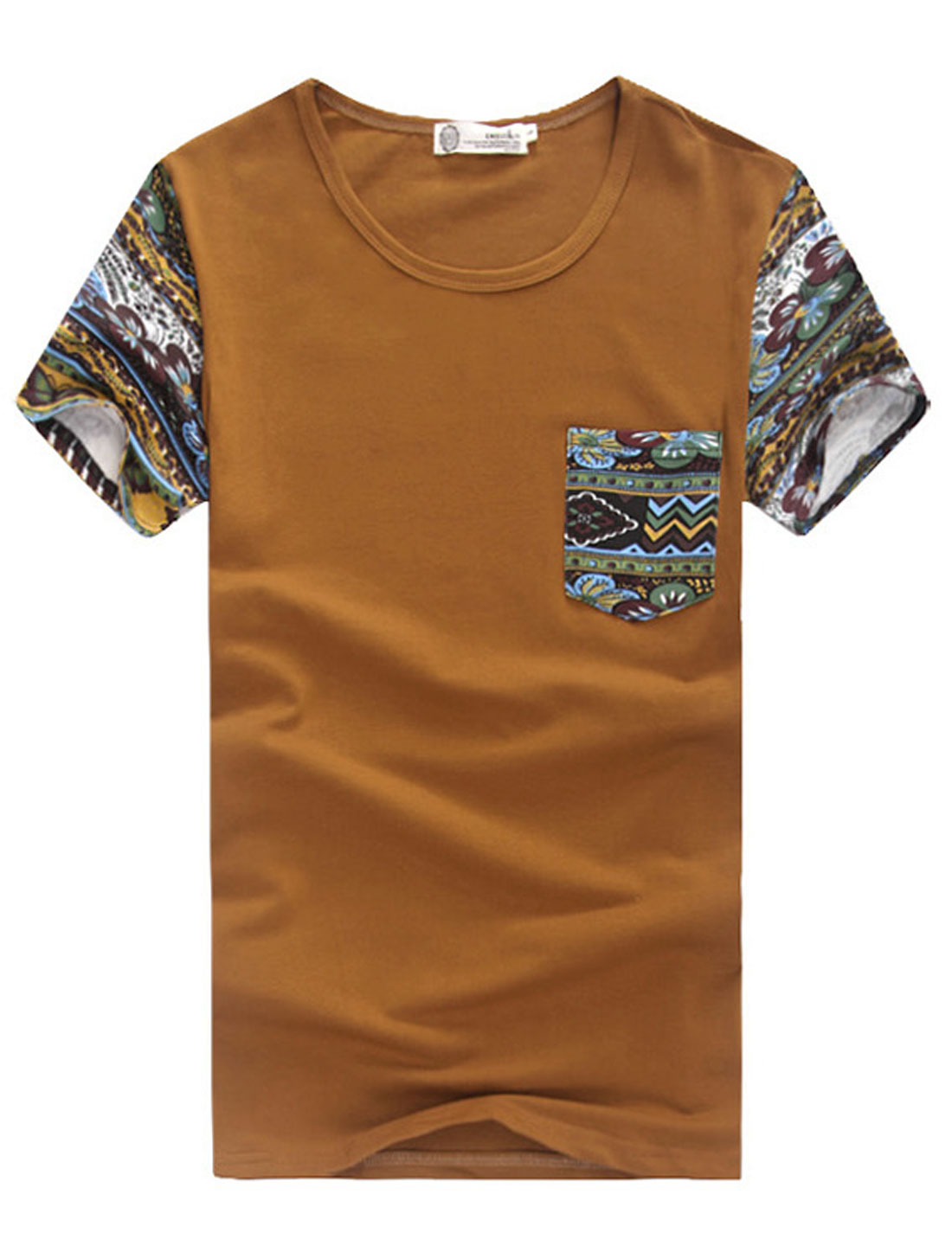 Men Round Neck Floral Prints Panel T-Shirt Light Brown M