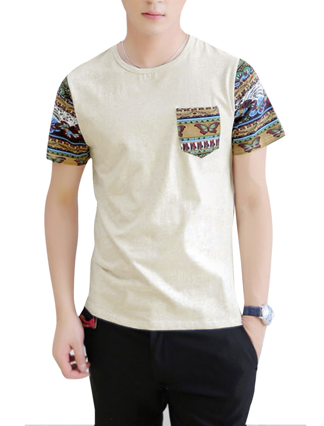 Men Round Neck Short Sleeve Floral Prints Patchwork T-Shirt Light Gray M