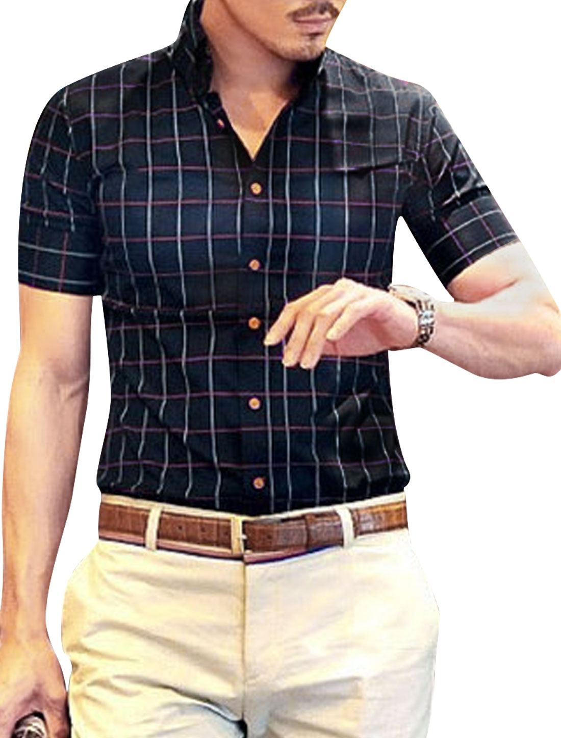 Check Pattern Single Breasted Summer Top Shirt for Men Navy Blue M
