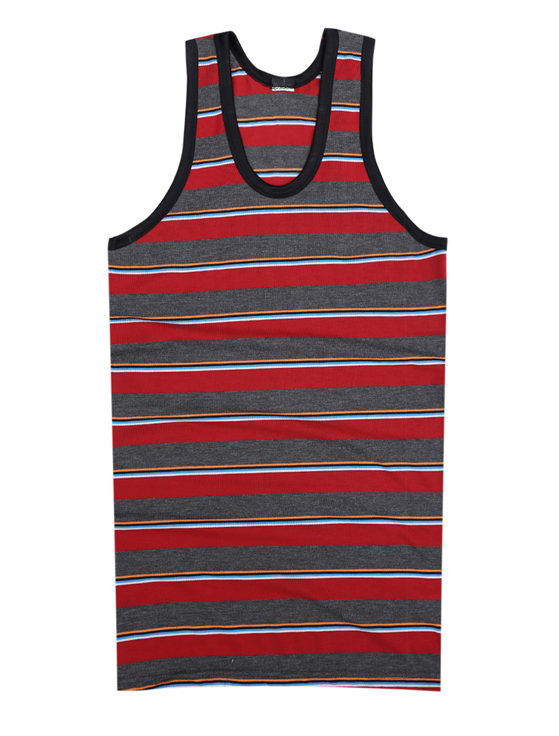 Men Stripes Pattern Piped Detail Slim Fit Tank Top Red Dark Gray S