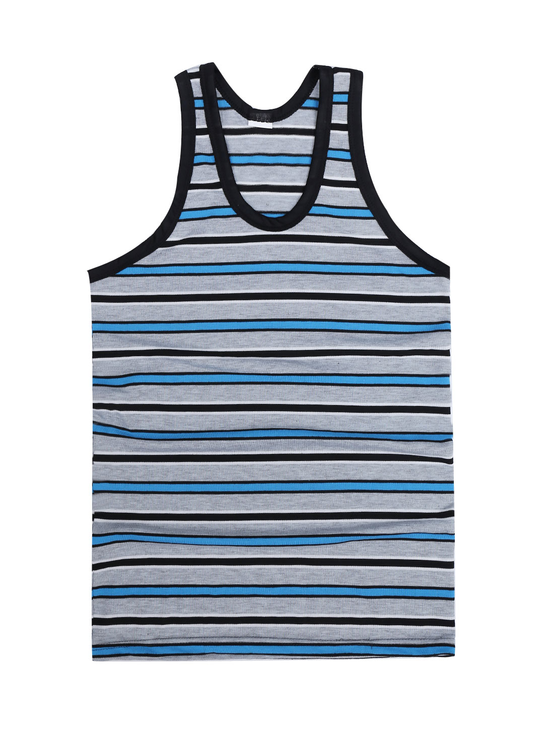 Men Sleeveless U Neck Stripes Summer NEW Tank Top Light Blue Light Gray S