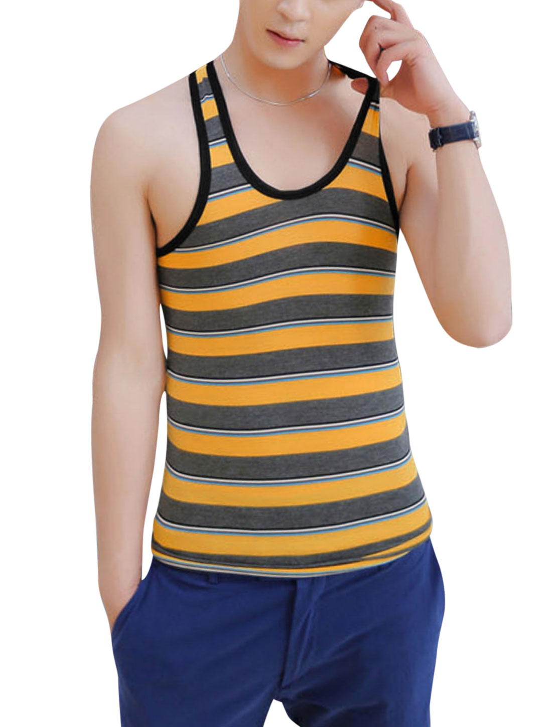 Men Piped Detail Striped Slipover Chic Tank Top Yellow Dark Gray S