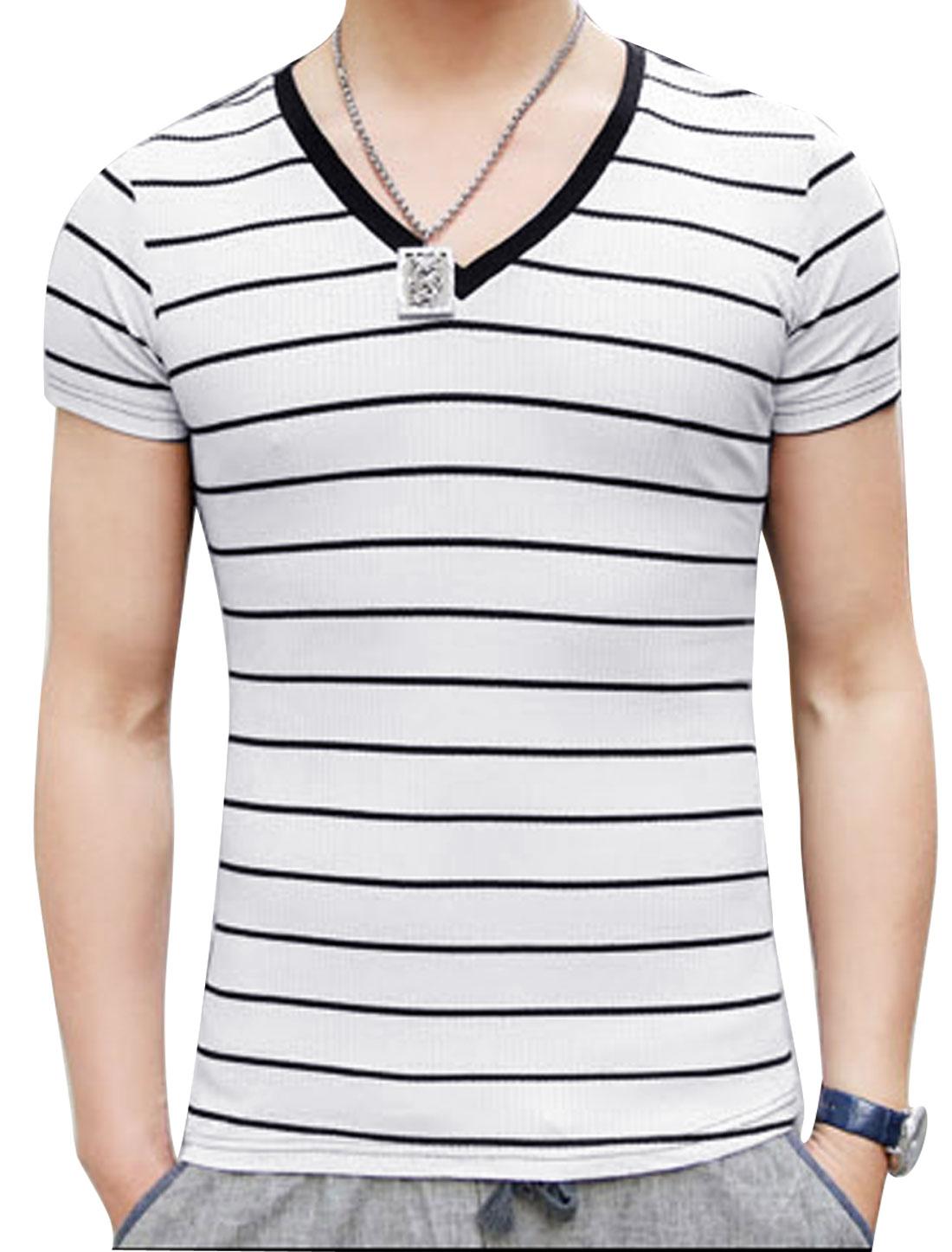 Men V Neck Stripes Rib Knit Splicing Stylish Tee Shirt Black White S