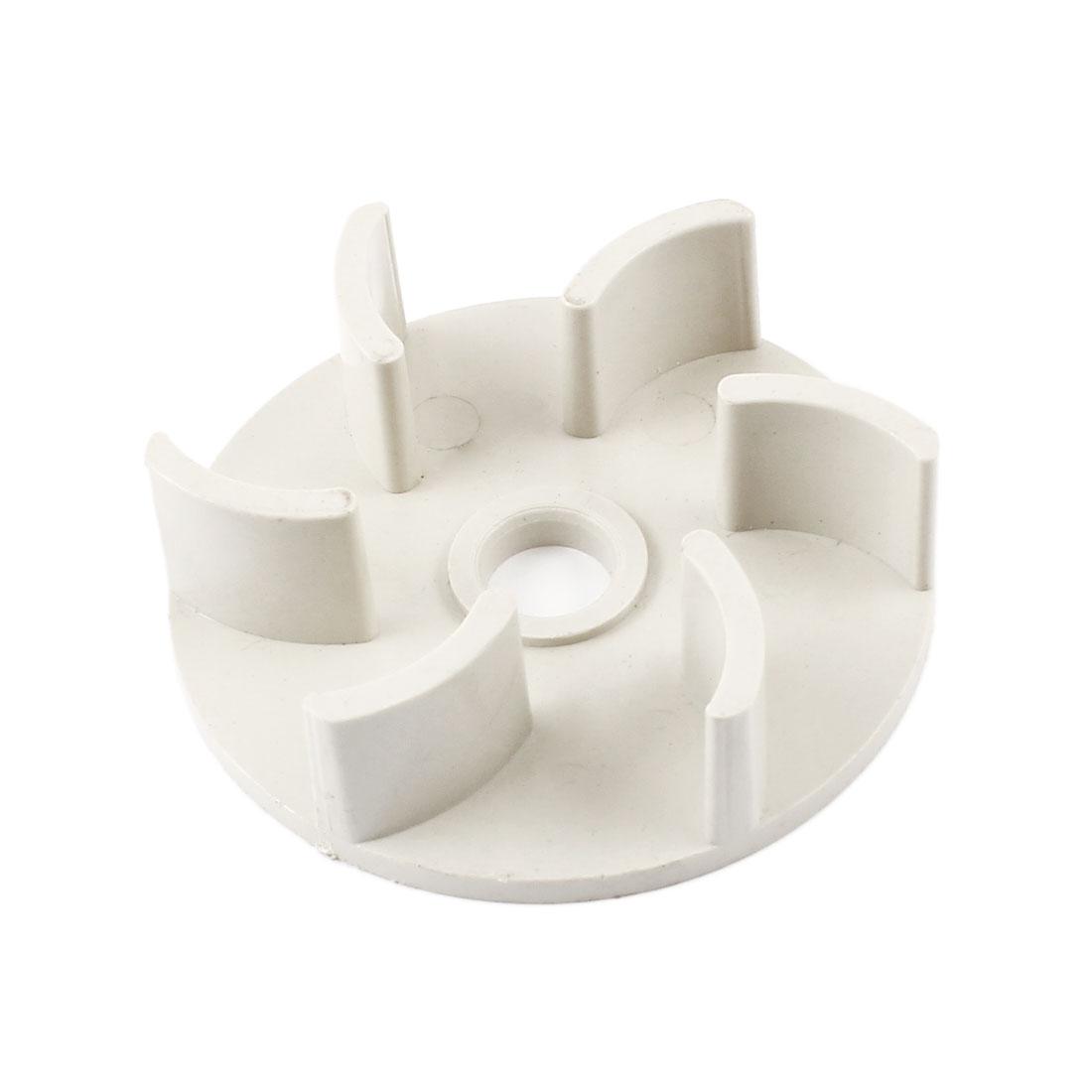 Beige Hard Plastic 61mm Outside Dia 10mm Inner Diameter 6 Fan Vanes Electric Water Fuel Pump Rotor Impeller