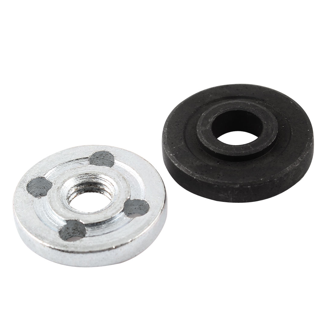 2Pcs Metal Angle Grinder Spare Part Round Clamp Inner Outer Flange Fixing Fitting Set Black Silver Tone for Hitachi 100