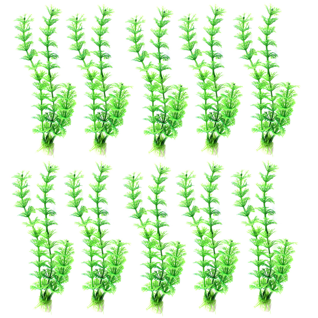 "Aquarium Fish Tank Landscaping Artificial Emulational Underwater Water Plant Grass Ornament Green 8.7"" Height 10Pcs"