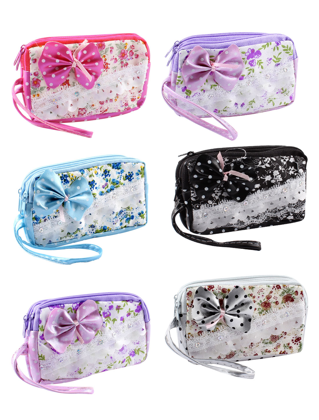 6pcs Colorful Zip Up Two Compartments Flower Pattern Bowknot Detail Cellphone Coins Cards Handbag Purse Bags for Lady