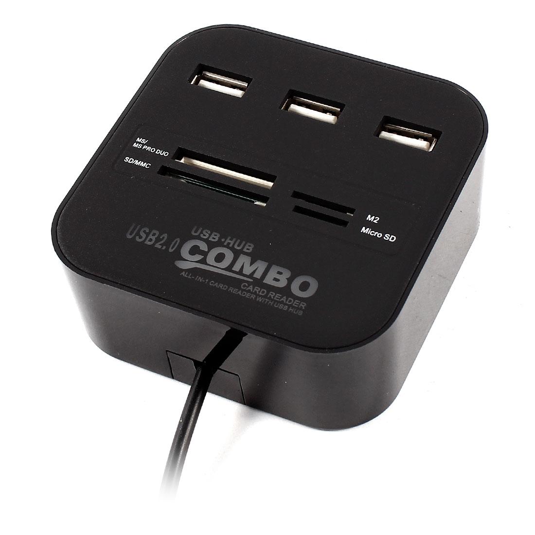 Blue LED Hi-Speed 3Ports USB 2.0 HUB Adapter TF SD Multi Card Reader Combo Black