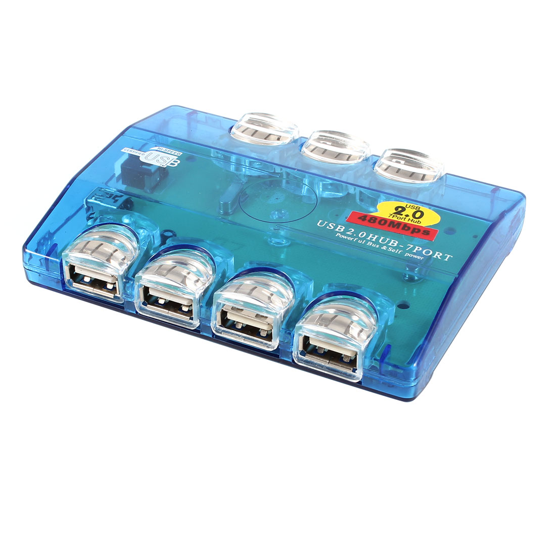 Coloful LED Flash Light 7-Port USB 2.0 Hub Clear Green for PC Laptop Notebook
