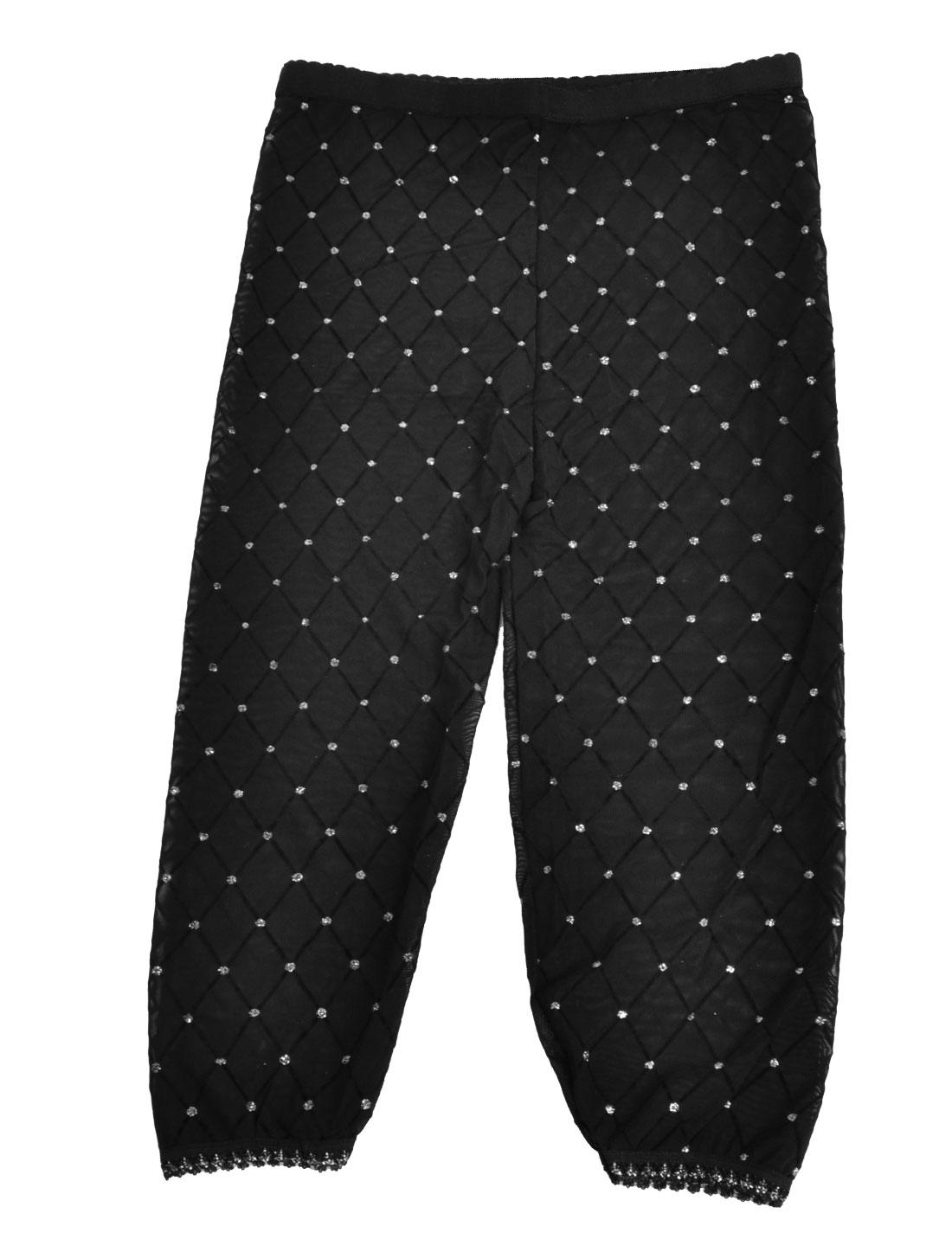 Women Stretchy Waist Transparent Cropped Leggings Pants Black S