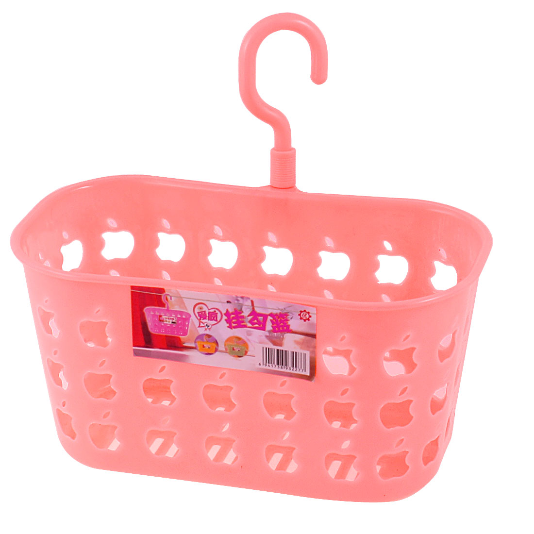Pink Plastic Perforated Apple Shape Print Single Hook Hanging Basket