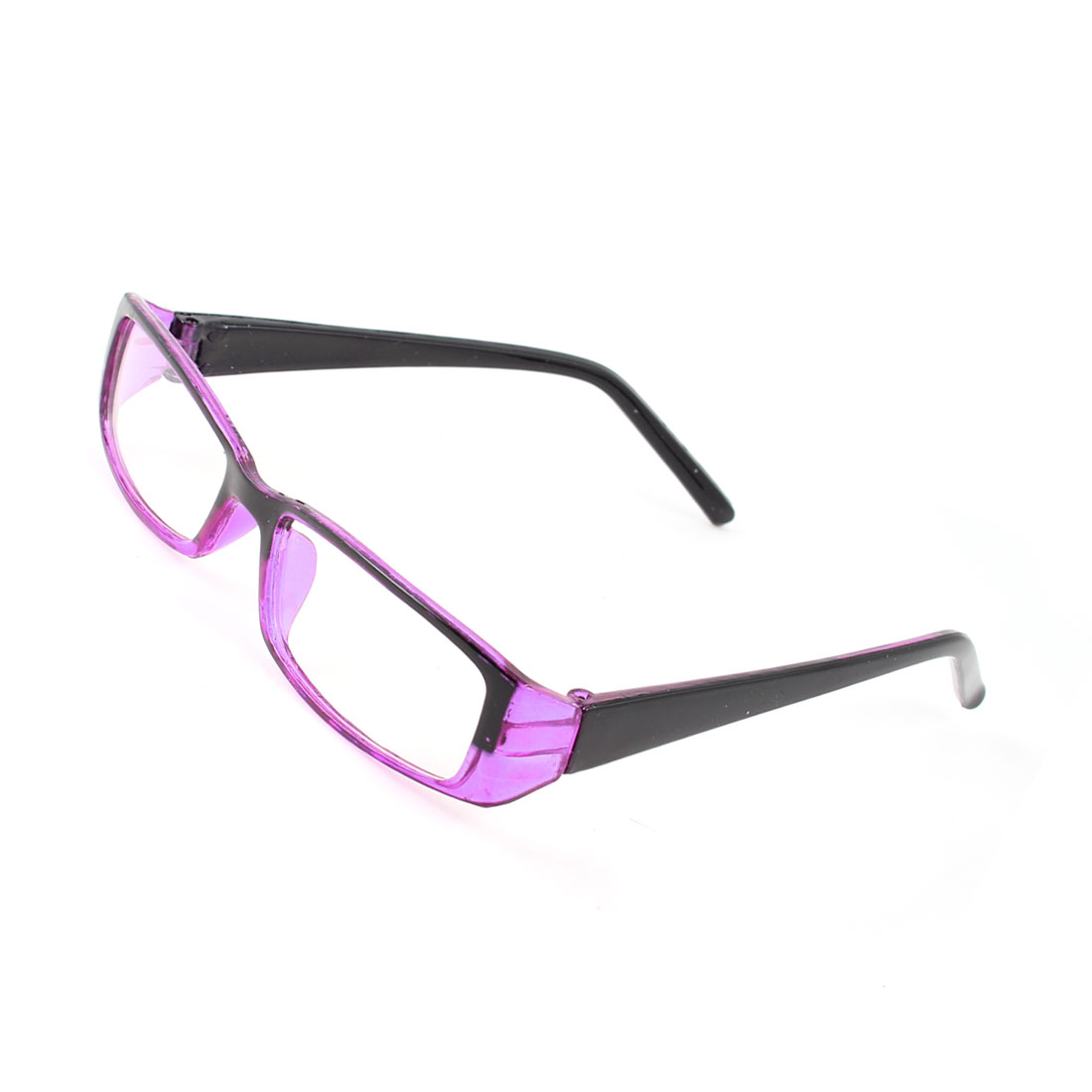 Purple Black Plastic Slim Temples Single Bridge Rectangular Lens Plain Glasses