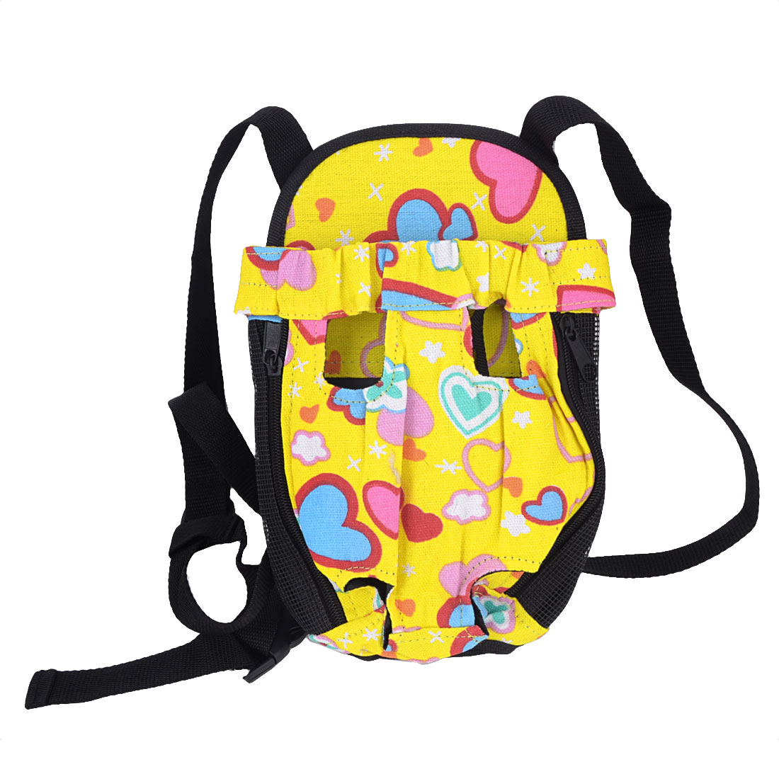 Yellow Black Bear Pattern Zipper Closure Pet Dog Doggy Backpack Carry Bag S