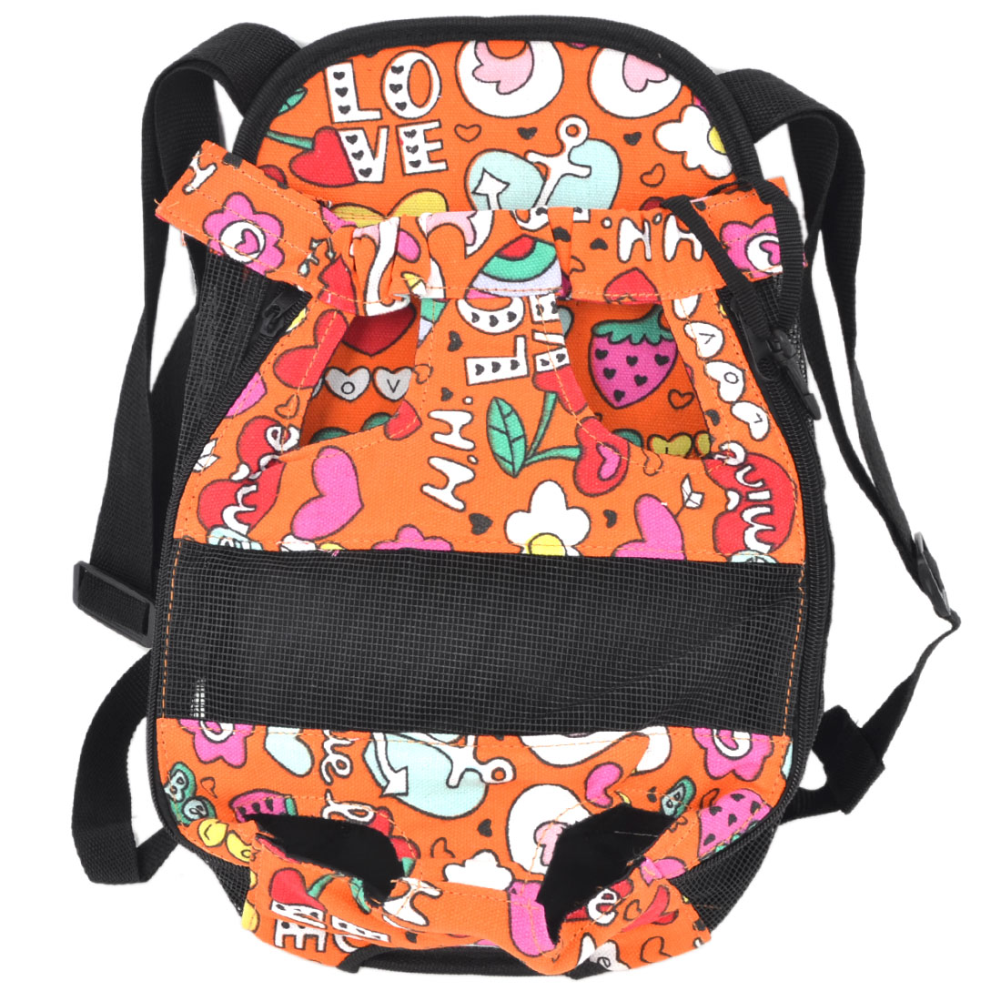 Orange Black Flower Print Release Buckle Pet Dog Cat Travel Backpack Carry Bag L