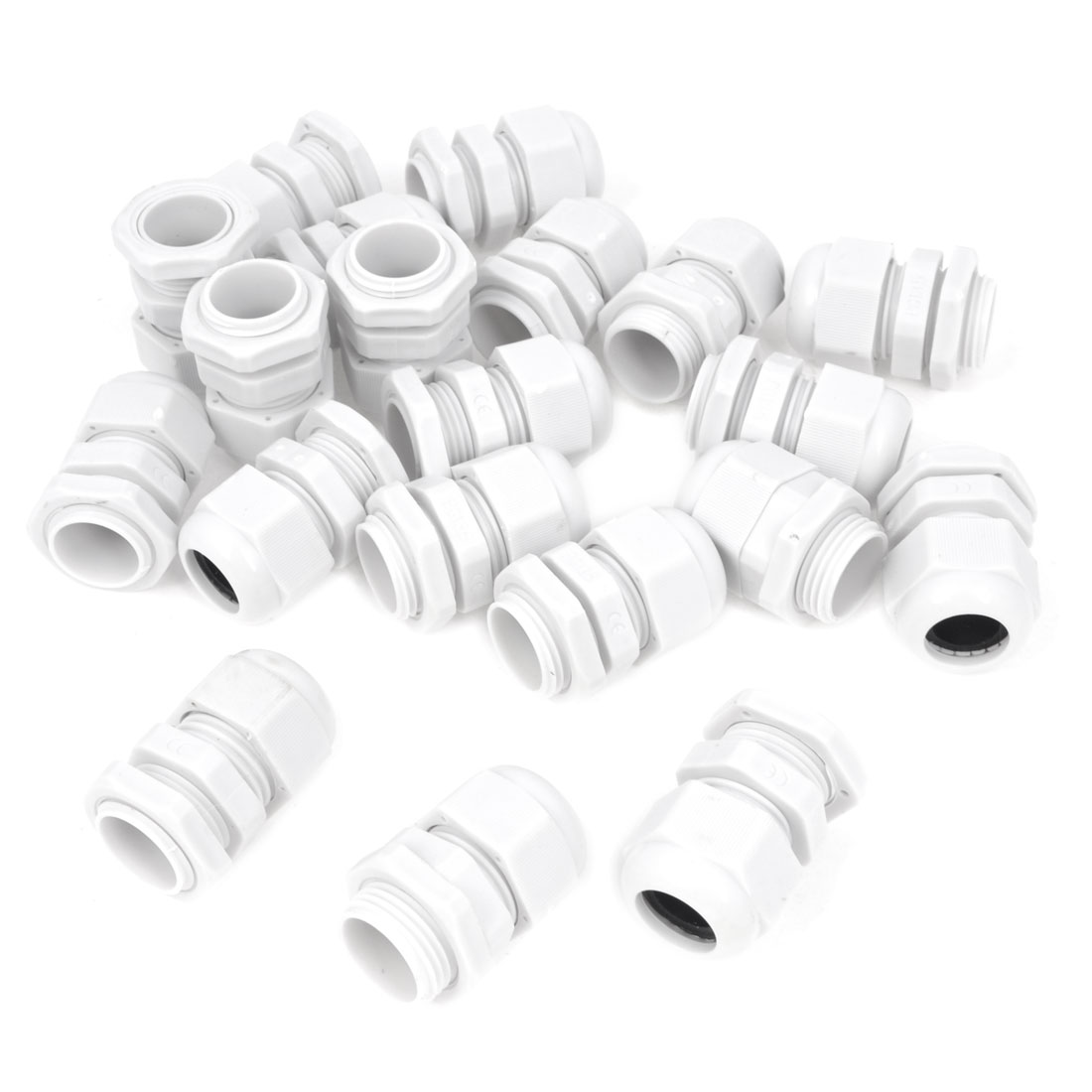 20 Pcs PG13.5 White Plastic 6mm to 12mm Dia Waterproof Cable Gland Fixing Connector