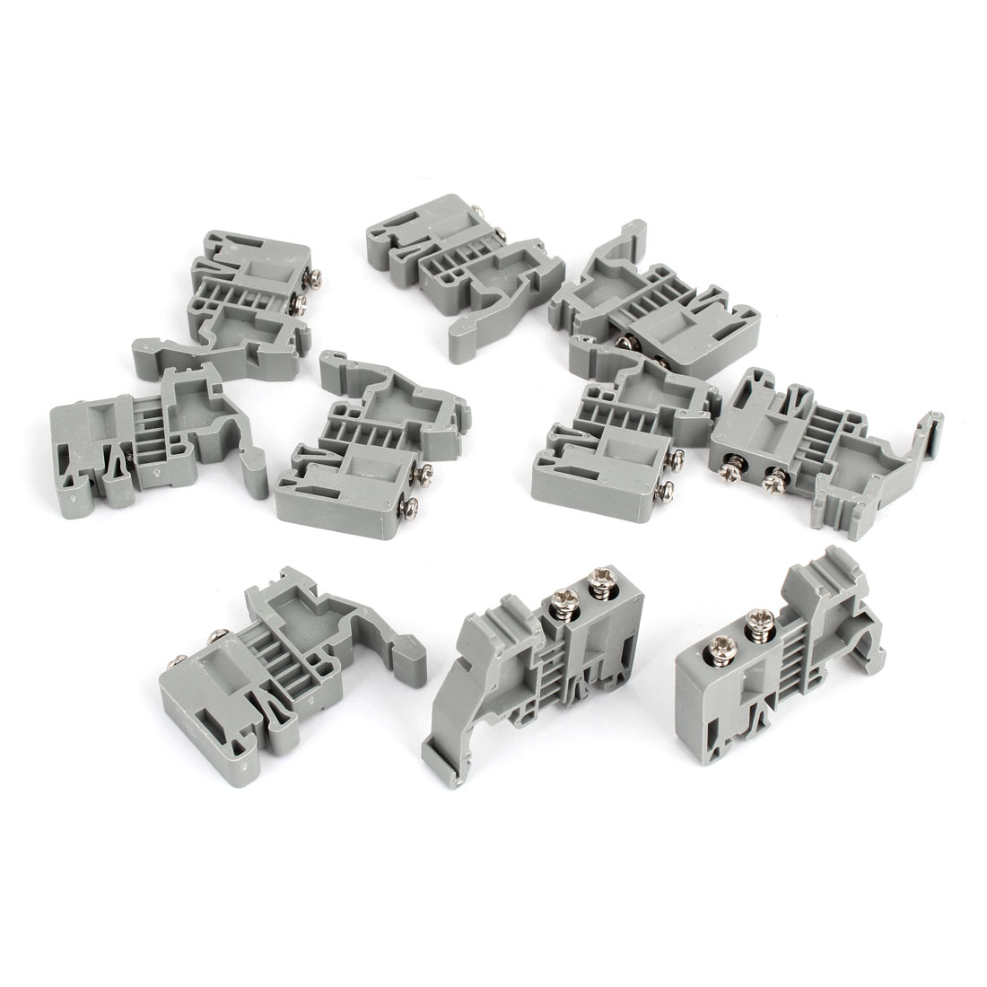 10 Pcs 35mm Din Rail Screw Fixed Terminal Block End Stopper Plate Clamps