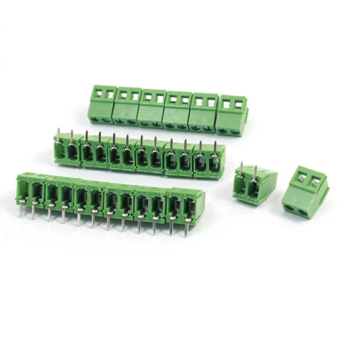 20pcs KF128-2P 5mm Pitch AC300V 10A Terminal Blocks Connectors Green