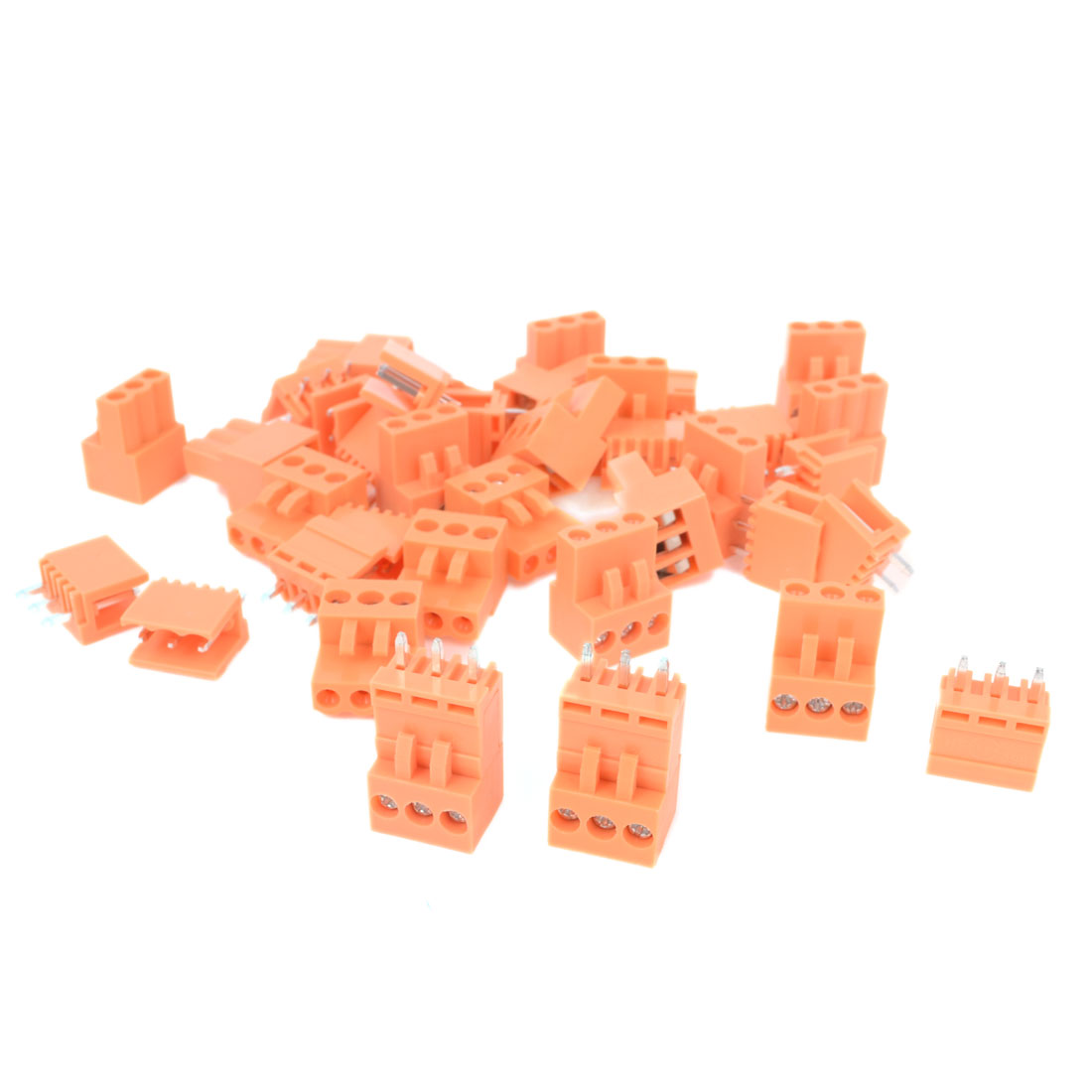 10Pcs AC 300V 10A 3P Poles PCB Screw Terminal Block Connector 3.96mm Pitch Orange