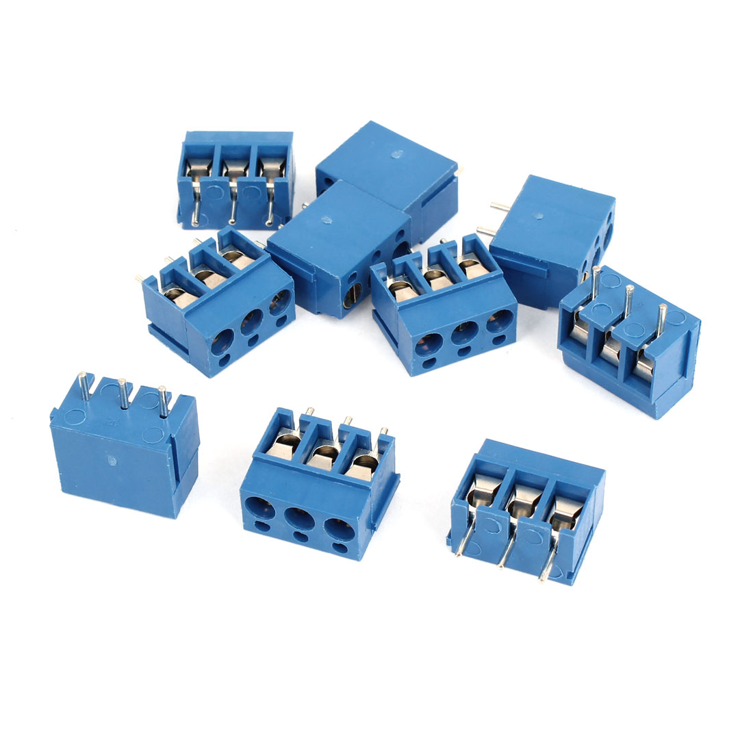 10Pcs AC 300V 16A 3P Poles PCB Screw Terminal Block Connector 5mm Pitch Blue