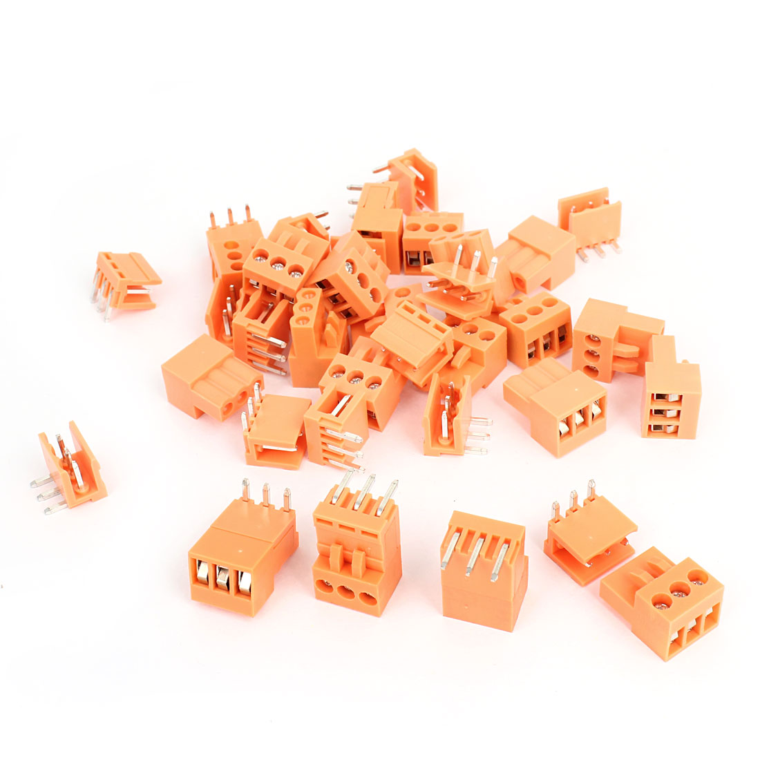 20 Pcs AC 300V 10A 3P Poles PCB Screw Terminal Block Connector 3.96mm Pitch Orange