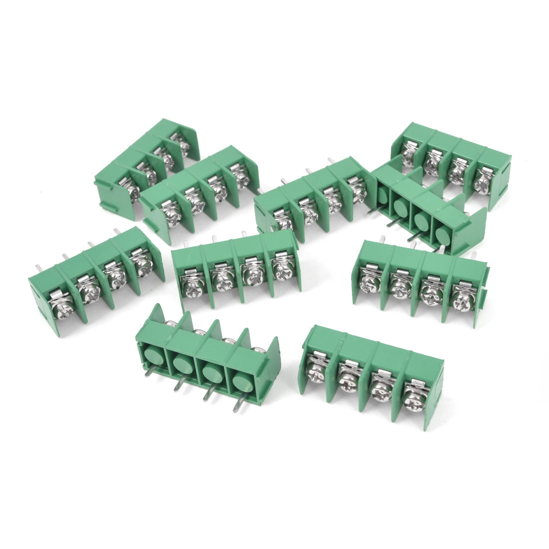 10Pcs 300V 20A 4P Pins PCB Screw Terminal Block Connector 7.62mm Pitch Green