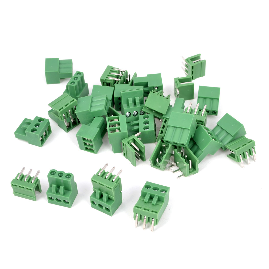 20Pcs AC 300V 10A 3P Poles PCB Screw Terminal Block Connector 3.96mm Pitch Green
