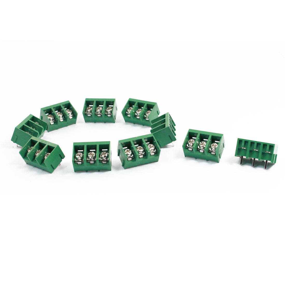 10 Pcs 9.5mm Pitch 3 Position 300V 30A Terminal Block Green
