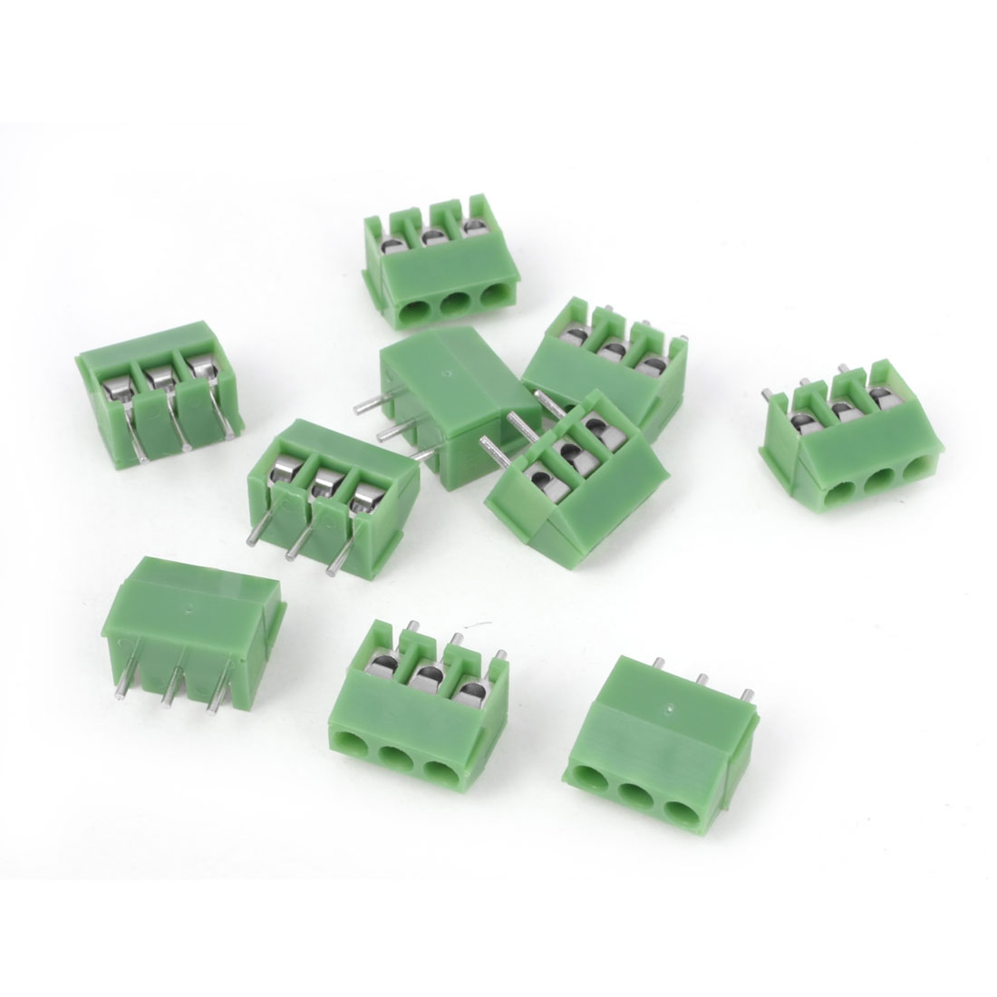 10 Pcs 300V 10A 3P Poles 3.5mm Pitch PCB Screw Terminal Block Connector Green