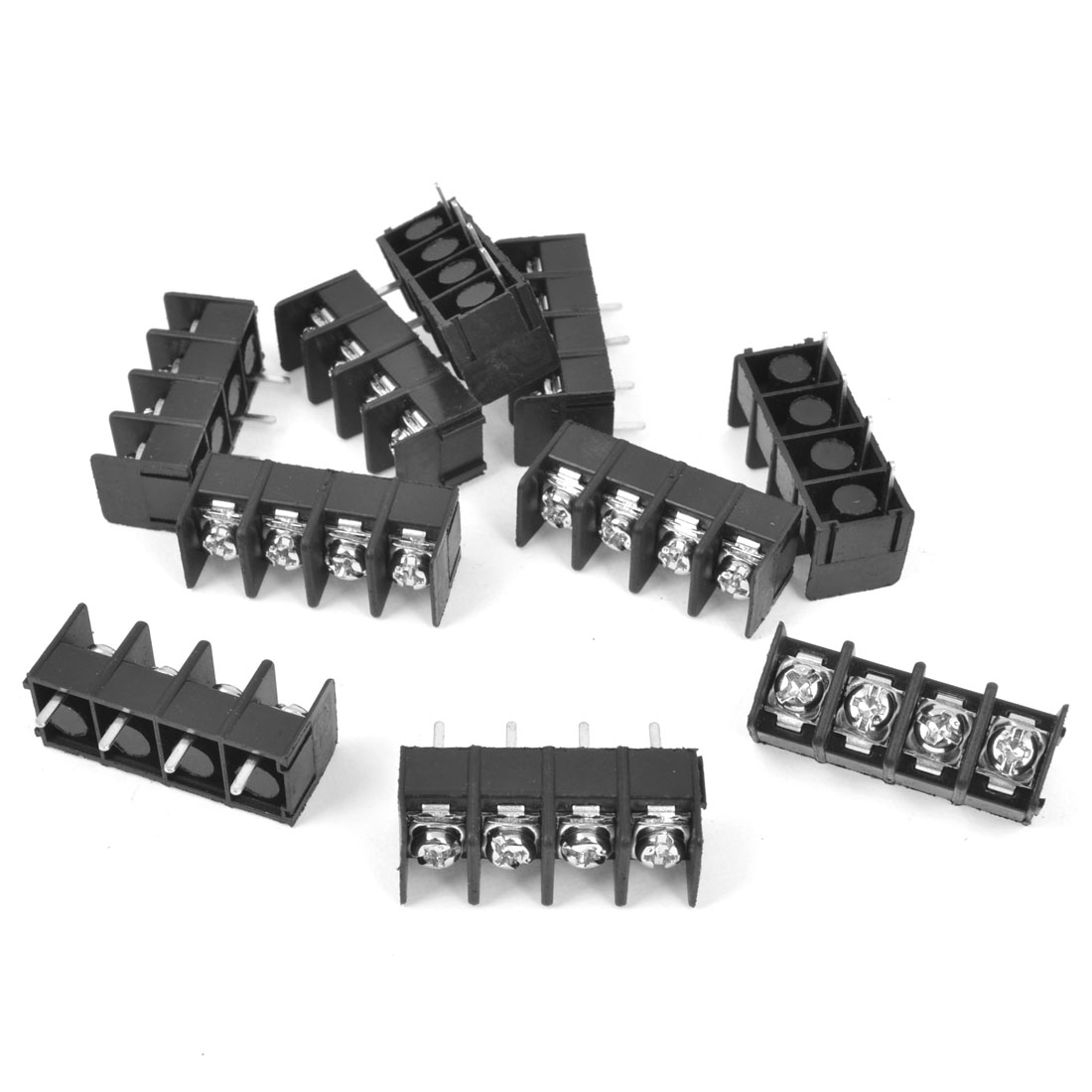 10Pcs 300V 20A 4P Pins PCB Screw Terminal Block Connector 7.62mm Pitch Black