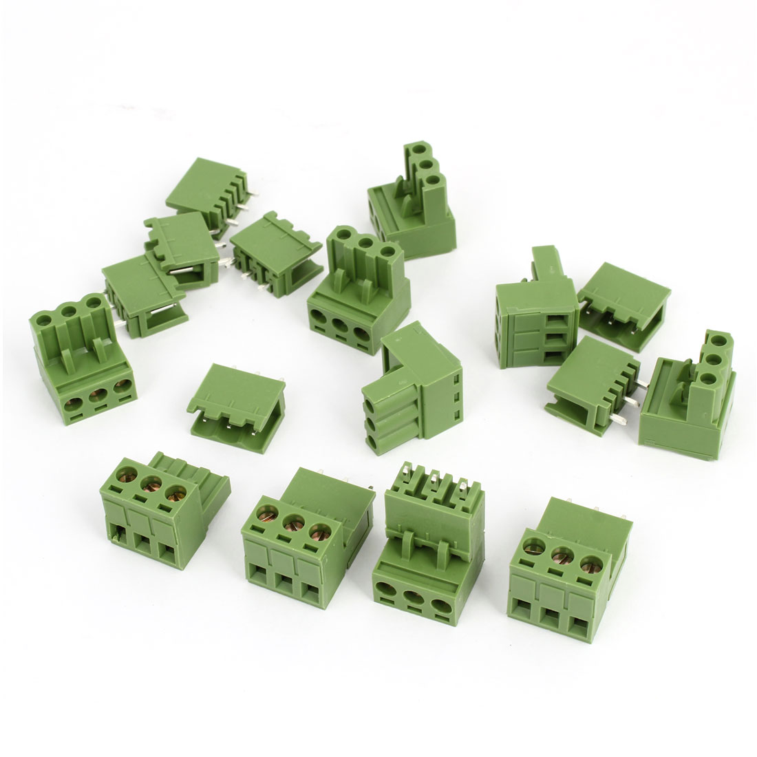 10Pcs 300V 10A 3P Poles PCB Screw Terminal Block Connector 5.08mm Pitch Army Green