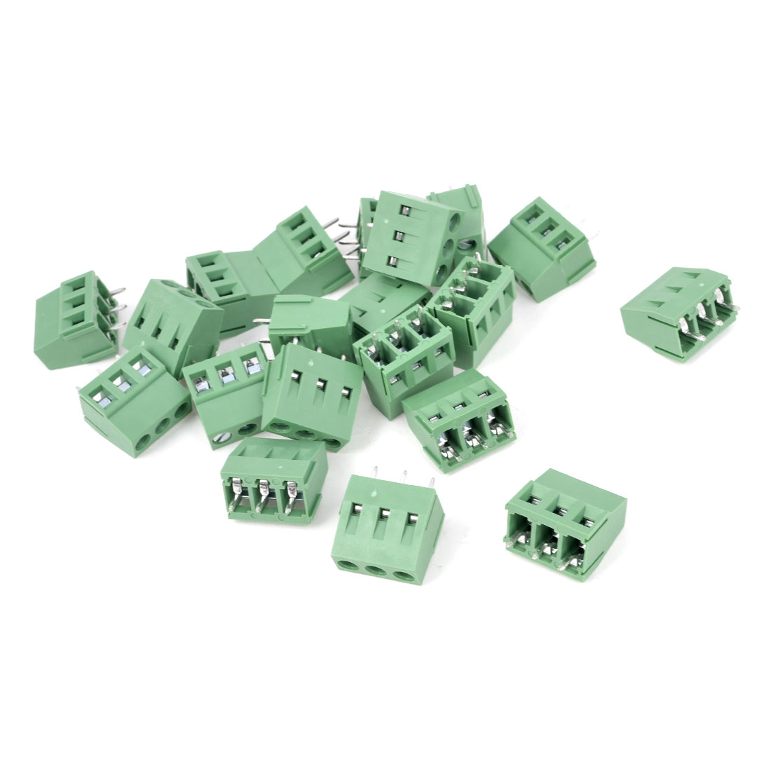 20Pcs 300V 10A 3P Poles PCB Screw Terminal Block Connector 5mm Pitch Green