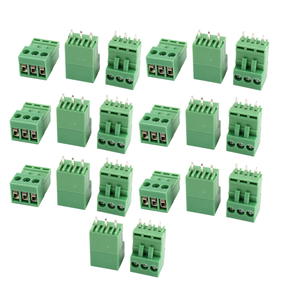 20 Pcs Green AC 300V 10A 3P Poles PCB Screw Terminal Block Connector 3.96mm Pitch