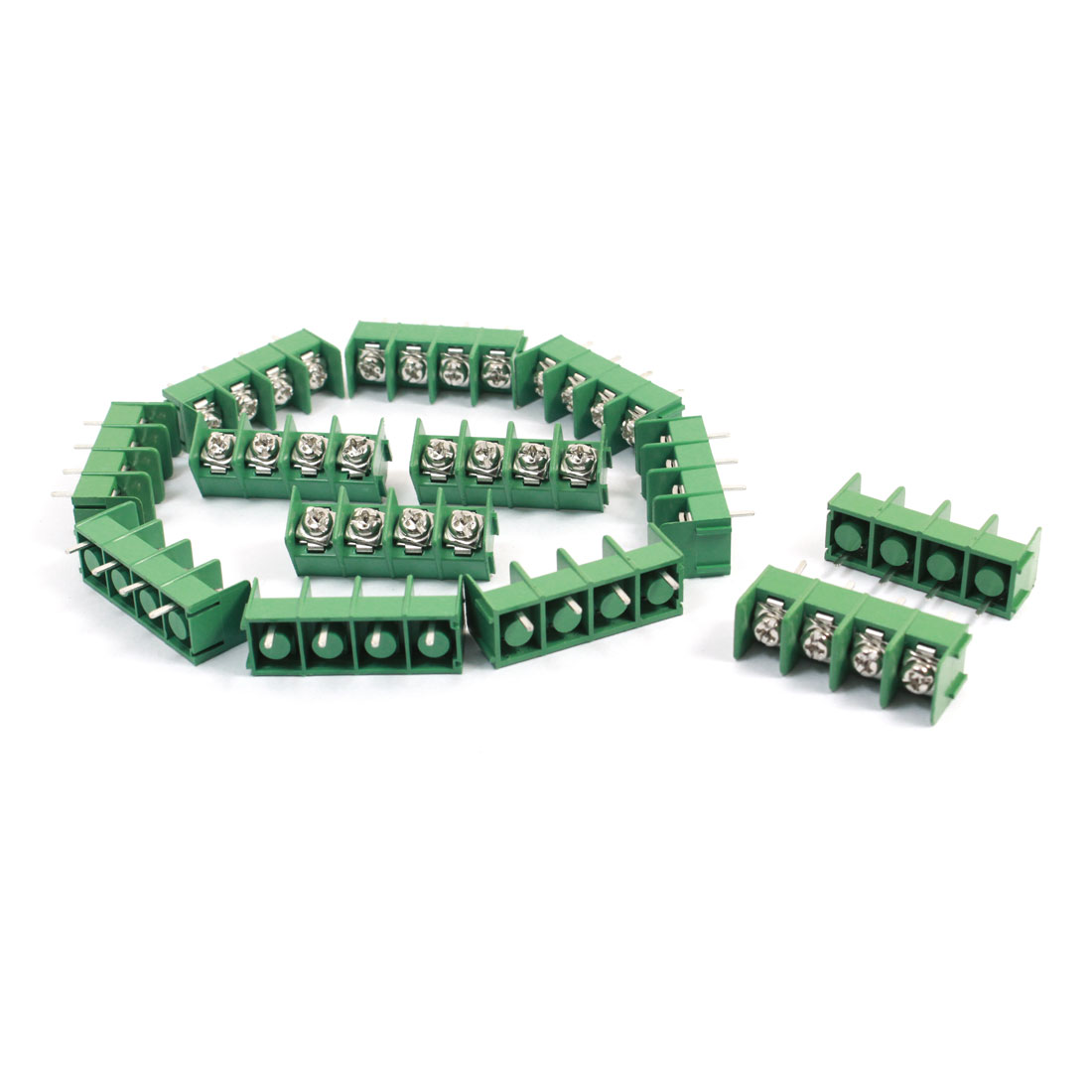 10 Pcs 4 pins 8.5mm Pitch 4 Position Terminal Block Strip Green 300V
