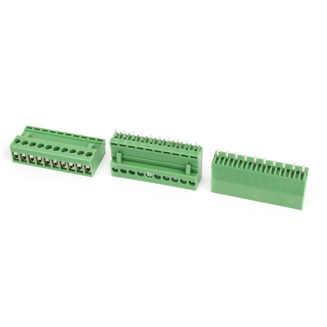 3 Pcs AC 300V 10A 10P Pins PCB Screw Terminal Block Connector 3.96mm Pitch Green