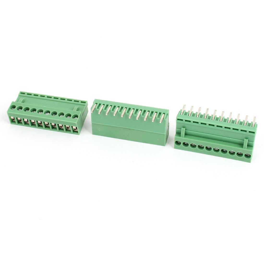 3 Pcs AC 300V 10A 10P Pins PCB Screw Terminal Block Connector 3.96mm Pitch Green