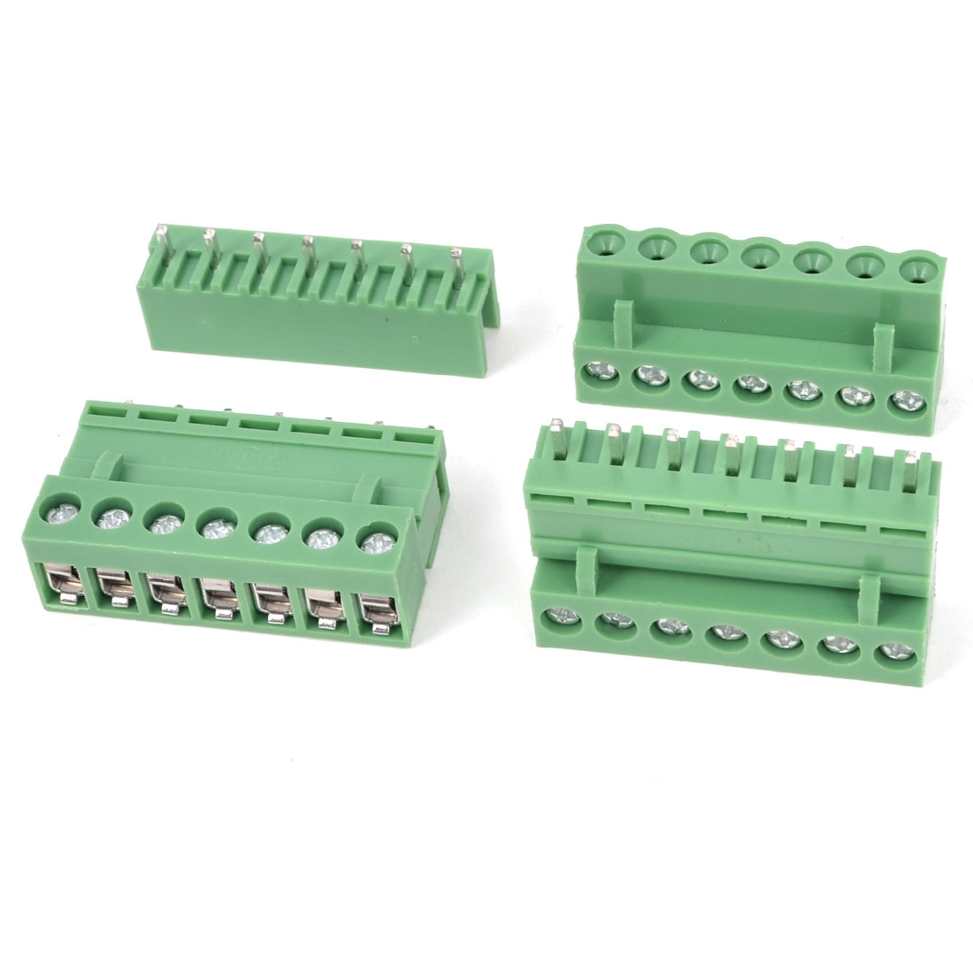 3 Pcs AC 300V 10A 7P Pins PCB Screw Terminal Block Connector 5.08mm Pitch Green