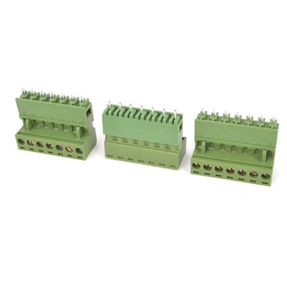3Pcs Army Green 300V 10A 5.08mm Pitch 7P Way Printed Circuit Board PCB Screw Terminal Barrier Block Connector