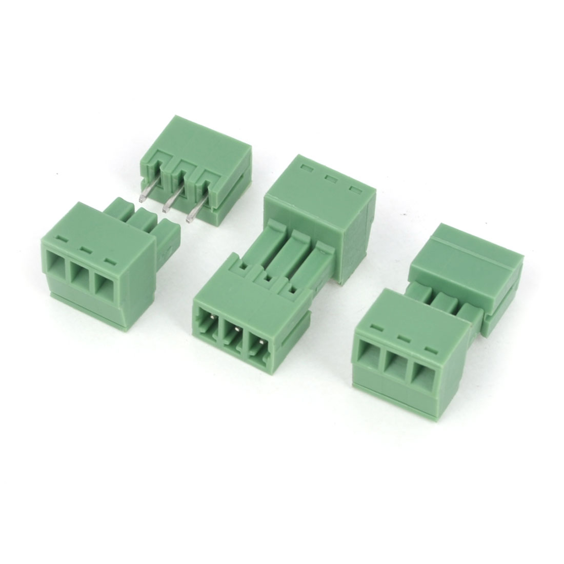 3Pcs AC 300V 8A 3P Poles PCB Screw Terminal Block Connector 3.5mm Pitch Green