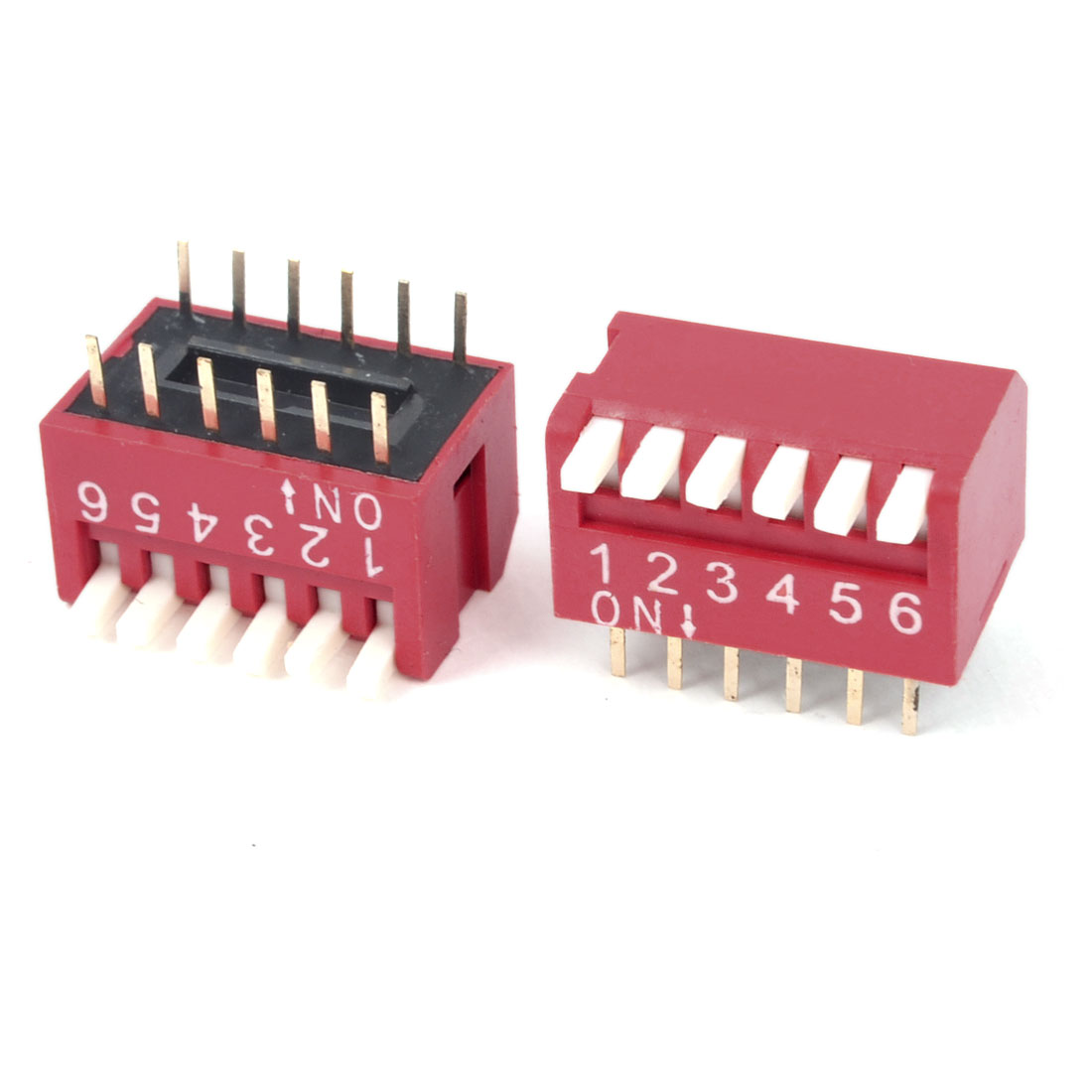 2PCS 6 Way 12 Pin 2.54mm Pitch PCB Mounted Piano Type DIL / DIP Switch Red