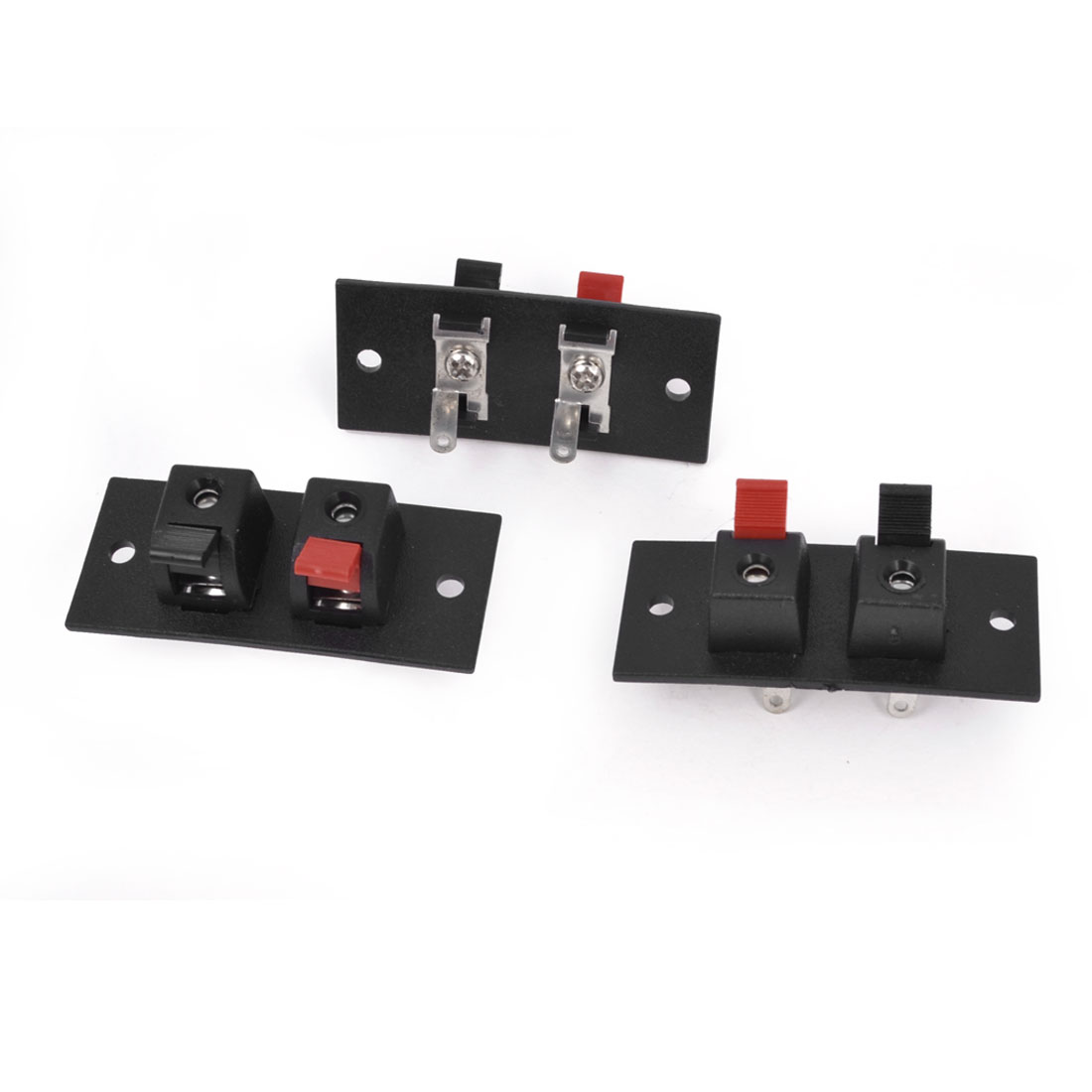 3 Pcs 2 Position 55 x 24mm Push Type Plastic Housing Speaker Terminal Board Connector