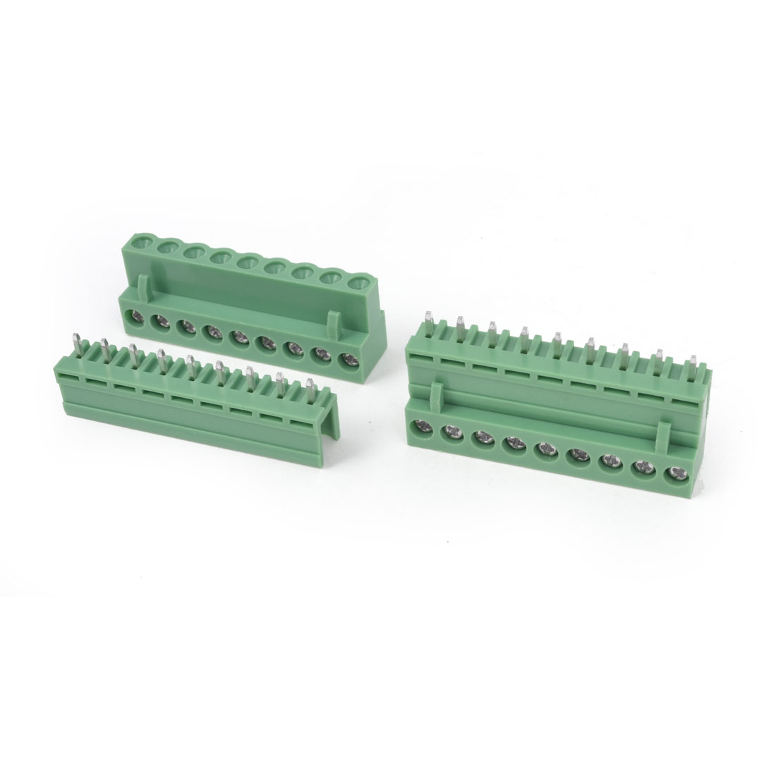 2Pcs AC 300V 10A 9P Pins PCB Screw Terminal Block Connector Pitch 5.08mm Green