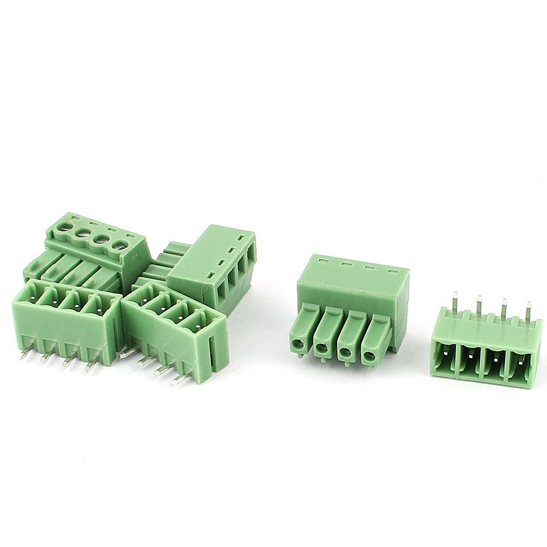 3pcs 3.81mm Pitch 4 Pins AC300V 8A Terminal Blocks Green
