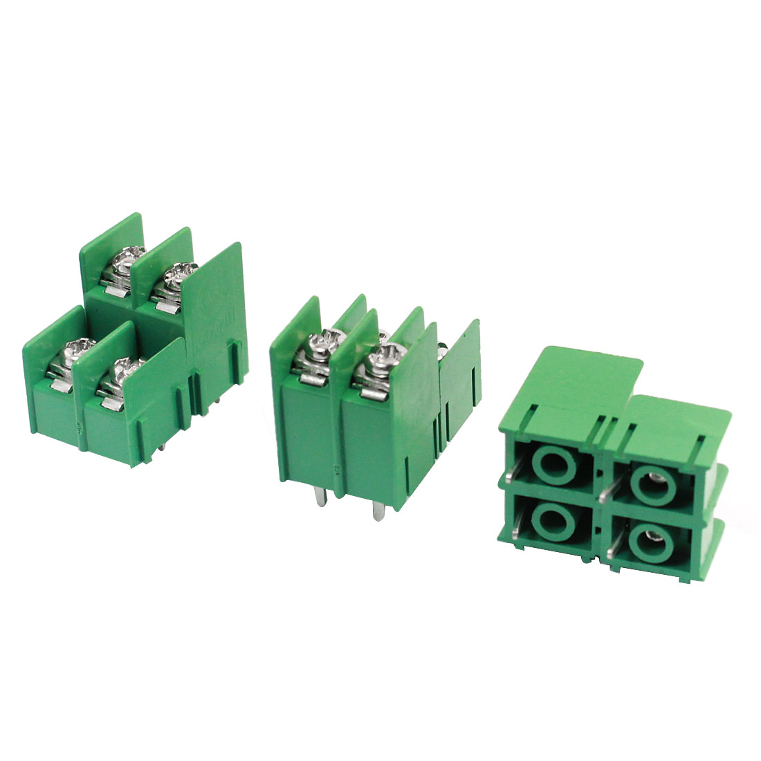 3 Pcs 4 pins 7.62mm Pitch 4 Position Terminal Block Green