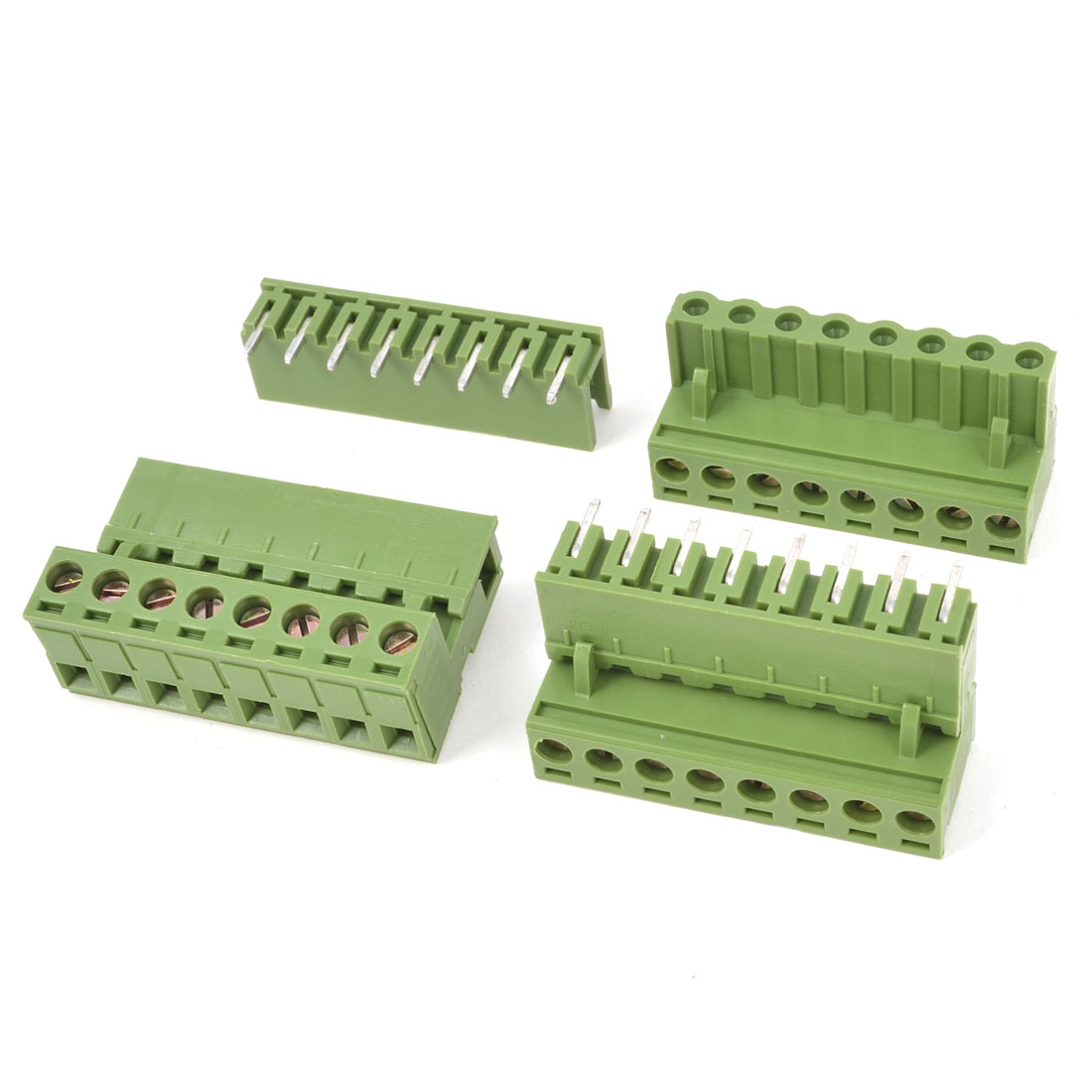 300V 10A 8 Way Pin PCB Screw Terminal Block Connector 5.08mm Pitch Army Green 3 Pcs