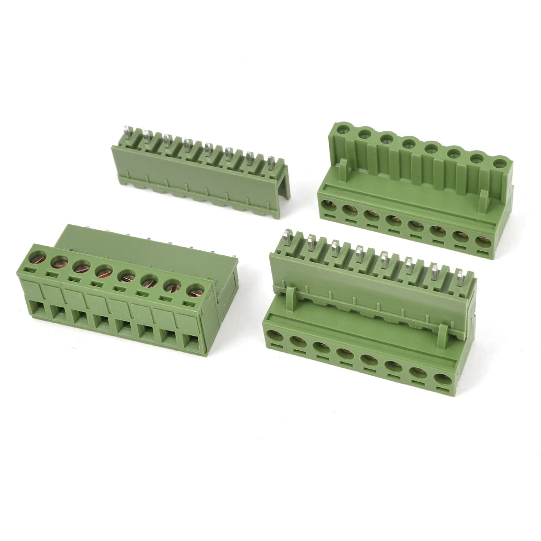 3 Pcs 300V 10A 8P Pins PCB Screw Terminal Block Connector 5.08mm Pitch Army Green