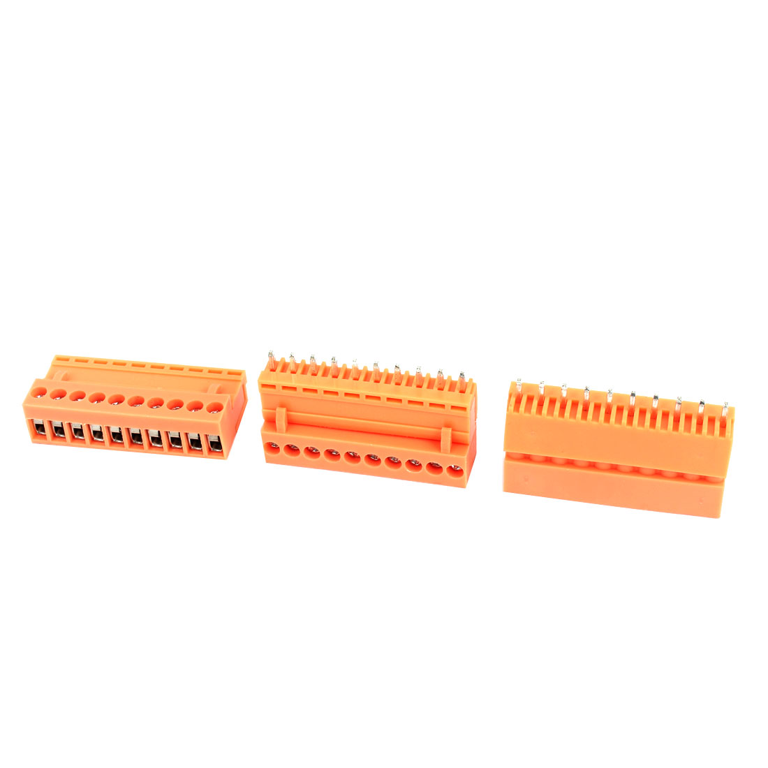 3 Pcs AC 300V 10A 10P Pins PCB Screw Terminal Block Connector 3.96mm Pitch Orange